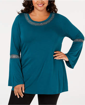 Belldini Plus Size Studded Mesh-Trim Top