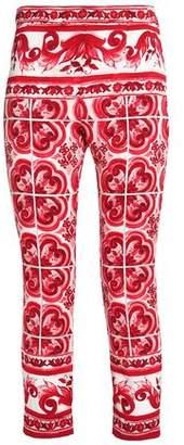 Dolce & Gabbana Cropped Printed Silk-Blend Slim-Leg Pants