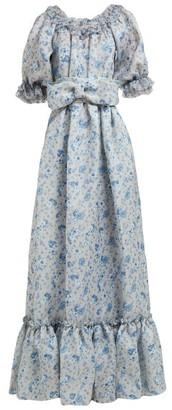 Luisa Beccaria Ruffled Floral Print Silk Gauze Gown - Womens - Blue Print