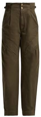 Atelier Jean Gemma Paper Bag Waist Jeans - Womens - Dark Green