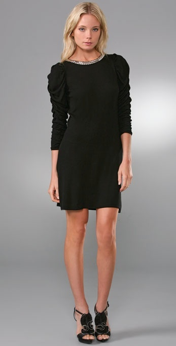 Alice + Olivia Studded Ruched Sleeve Dress