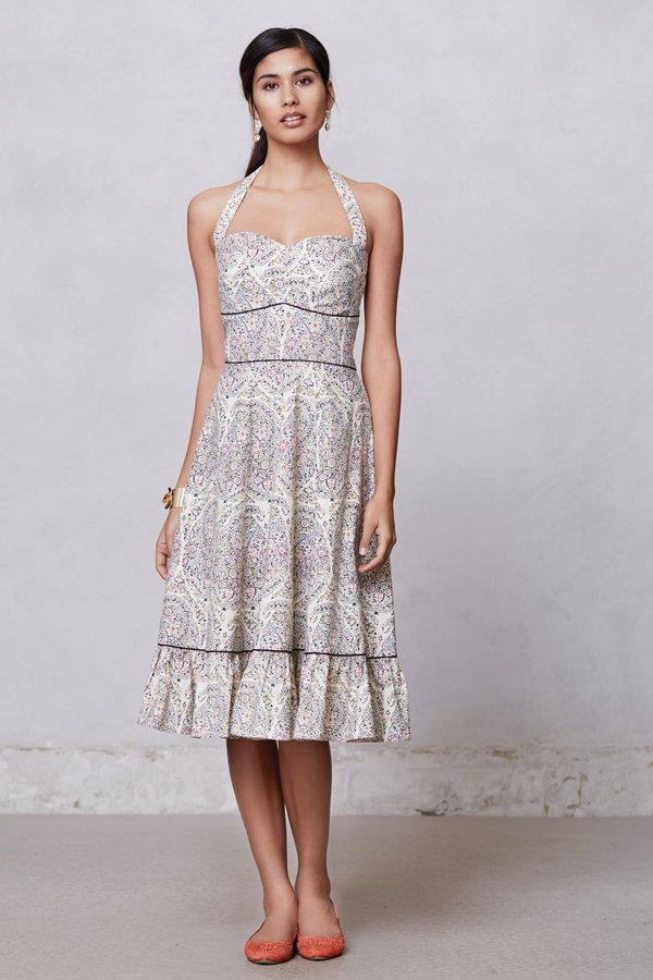 Anthropologie Swirled Paisley Halter Dress