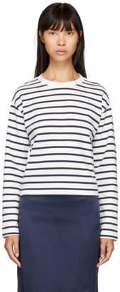 Rag & Bone White and Navy Mariner Long Sleeve T-Shirt