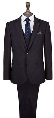 Burton Mens Dark Grey Slim Fit Mini Textured Suit Jacket