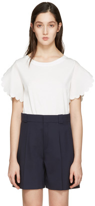 See by Chloé White Scalloped Sleeves T-Shirt $195 thestylecure.com