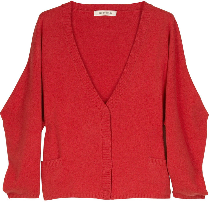 See by Chloè Cropped wool blend cardigan