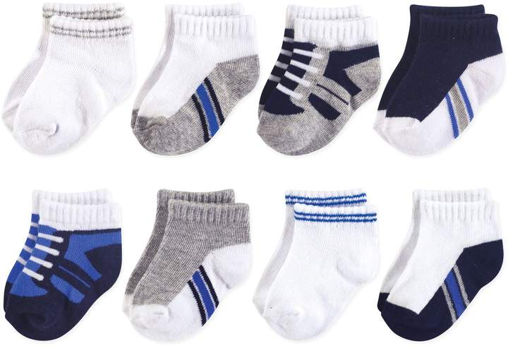 Luvable Friends 8-Pack No Show Sneaker Socks in Blue