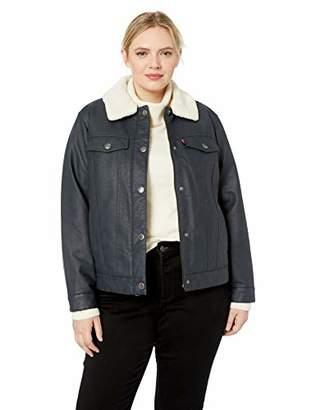 Levi's Women's Plus Size Faux Leather Sherpa Lined Trucker Jacket