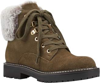Bandolino Fur Collar Lace-up Hiker Boots - Lauria