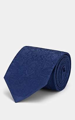 Alexander McQueen Men's Lace-Print Silk Necktie - Blue