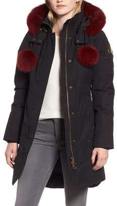Moose Knuckles Meighan Water Repellent Down Parka with Genuine Fox Fur Trim