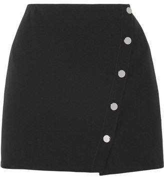 Versace - Asymmetric Cady Wrap Mini Skirt - Black $825 thestylecure.com