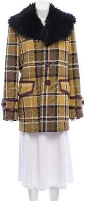 Marc Jacobs Faux Fur Plaid Coat