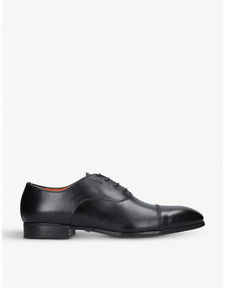 santoni Designer Shoes, Oscar Dark Leather Wingtip Derby Shoes