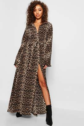 boohoo Belted Leopard Print Maxi Dress