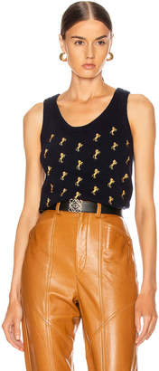 Chloé Sleeveless Embroidered Horse Top in Evening Blue | FWRD