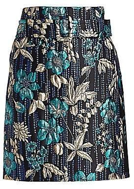 Prada Women's Cloque Twist Belted Floral Skirt