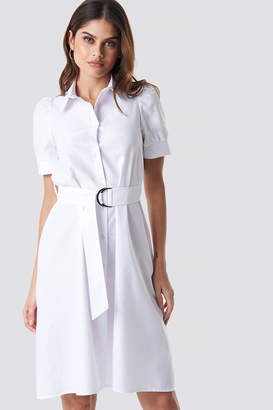 BEIGE Na Kd Trend Belted Shirt Dress