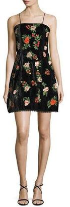 Alice + Olivia Launa Spaghetti-Strap Embroidered Velvet Mini Dress