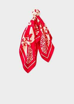 Paul Smith Women's Red 'Dog' Print Silk Square Scarf