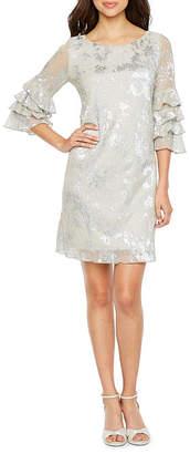 J Taylor Short Sleeve Abstract Shift Dress
