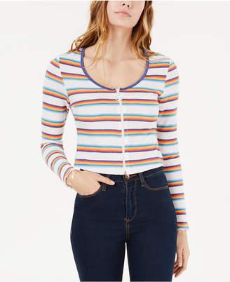 Self Esteem Juniors' Striped Zip-Front Crop Top