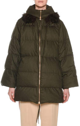 Agnona Zip-Front Wool-Blend Flannel Puffer Coat w/ Fox-Fur Trim