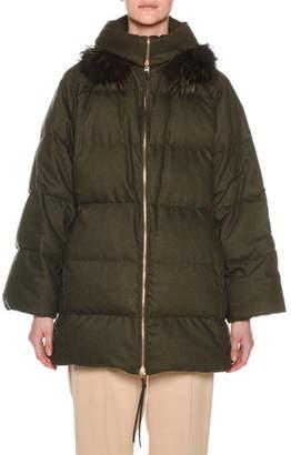Agnona Zip-Front Wool-Blend Flannel Puffer Coat w/ Fox-Fur Trim