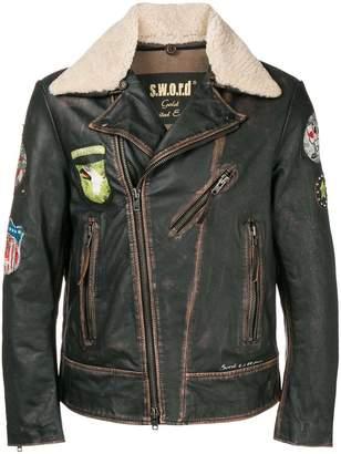 S.W.O.R.D 6.6.44 shearling collar biker jacket