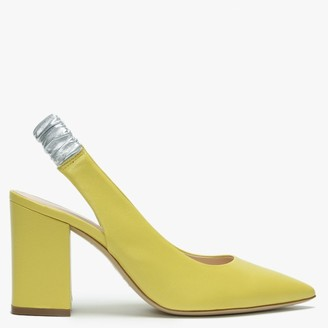 Daniel Elastico Yellow Leather Contrast Sling Back Heels