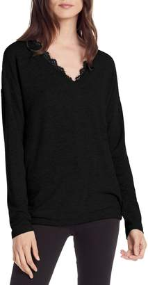 Michael Stars Madison Lace Detail Long Sleeve Top
