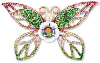 Betsey Johnson Rose Gold-Tone Crystal & Imitation Pearl Butterfly Pin