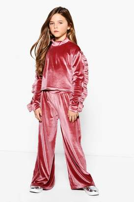 boohoo Girls Valore Funnel Neck Crop Top Tracksuit
