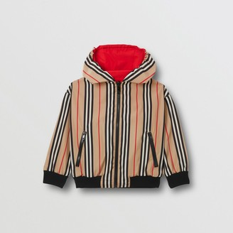 Burberry Childrens Reversible Icon Stripe Hooded Jacket