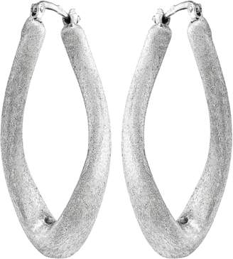 Italian Silver Oval Twisted Satin Hoop Earrings