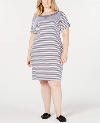 Karen Scott Plus Size Chambray Trim Dress