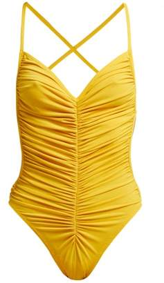 Norma Kamali Butterfly Mio Ruched Swimsuit - Womens - Yellow