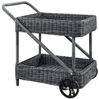 Modway Summon Outdoor Patio Beverage Cart in Gray