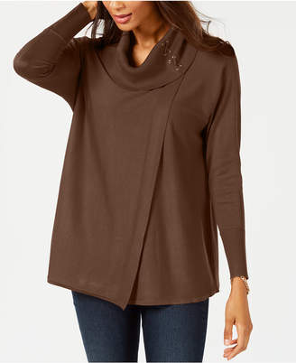 JM Collection Faux-Wrap Cowl-Neck Sweater