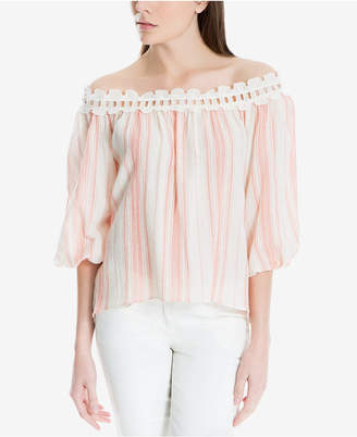 Max Studio London Cotton Striped Off-The-Shoulder Top, Created for Macy's