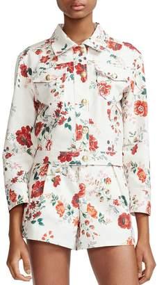 Maje Viflor Floral Print Denim Jacket