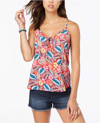 Hippie Rose Juniors' Printed Lace-Up Tank Top