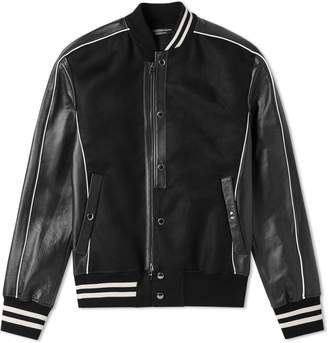 Alexander McQueen Leather Sleeve Varsity Jacket