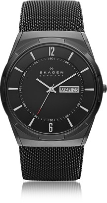 Skagen Melbye Black Stainless Steel Mesh and Titanium Case Multifunction Men's Watch