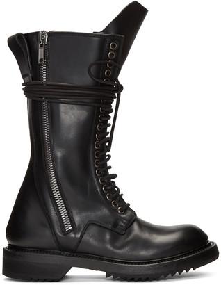 Rick Owens Black Double Zip Lace-Up Boots $1,915 thestylecure.com