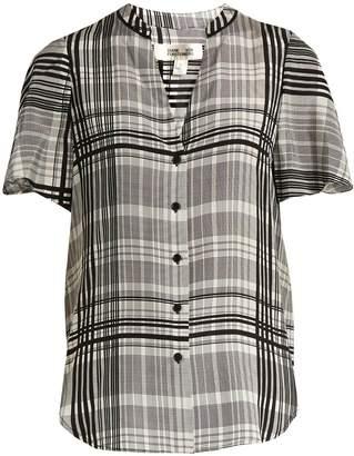 DIANE VON FURSTENBERG Stand-collar silk crepe de Chine blouse $268 thestylecure.com
