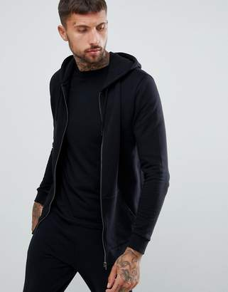 Asos DESIGN longline zip up hoodie in black