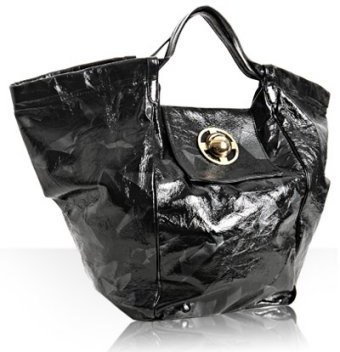 Gustto black crushed patent 'Paza' x-large tote