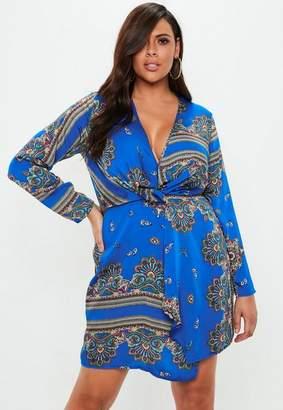 Missguided Curve Blue Paisley Print Wrap Dress, Blue