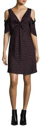 McQ Alexander McQueen Polka-Dot Satin Cold-Shoulder Mini Dress, Black $485 thestylecure.com